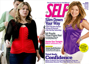 Kelly Clarkson in 2009, before and after Photoshop. Click on the image to read the article at www.beautyredefined.net.